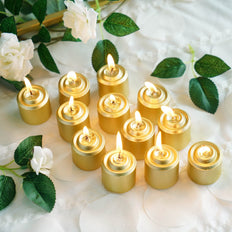 "12 Pack | 1.5"" Gold Dripless Unscented Votive Candles 
