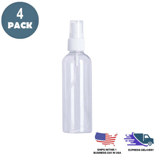 4 Pack | 4 Oz Fine Mist Spray Bottle | Refillable Small Plastic Bottle With Sprayer
