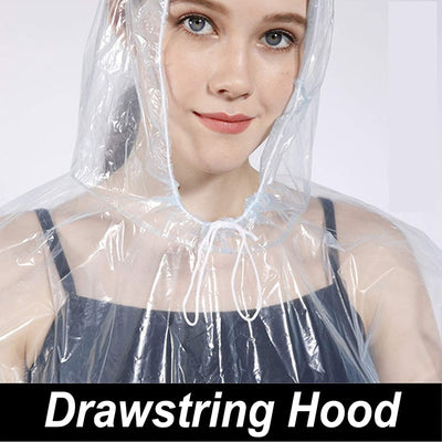 Disposable Rain Poncho, Waterproof Raincoat with Hood