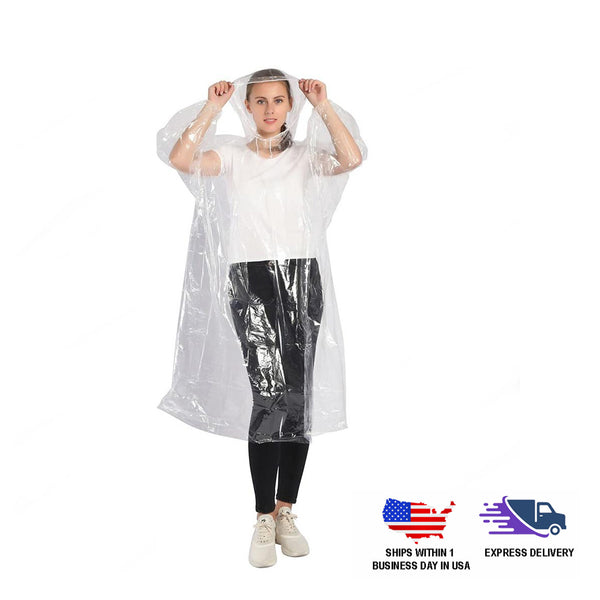 Unisex Plastic Disposable Rain Poncho | Waterproof Raincoat with Hood