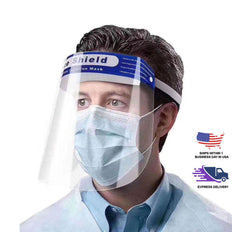 Clear Safety Face Shield Mask - Full Protective Plastic Headgear with Elastic Band and Comfort Sponge