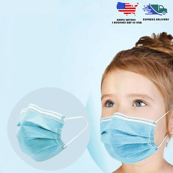 Pack of 50 - 3 Ply Blue Non Woven Children's Face Masks Disposable with Ear Loop