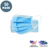 Pack of 50 - 3 Ply Blue Protective Sanitary Disposable Face Mask with Ear Loop