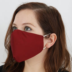 5 Pack - 2 Ply Burgundy Ultra Soft Organic Cotton Washable Face Mask, Fabric Face Mask With Soft Ear Loops