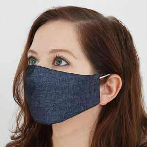 5 Pack - 2 Ply Blue Denim Ultra Soft Organic Cotton Washable Face Mask, Fabric Face Mask With Soft Ear Loops