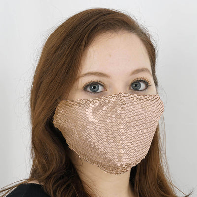 5 Pack | Sequined Cotton Fashion Face Mask, Washable Reusable Face Mask With Ear Loops - Blush | Rose Gold