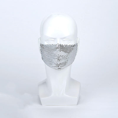 Fashion Face Mask, Glitter Face Mask, Silver Face Mask, Reusable Face Mask, Protective Masks