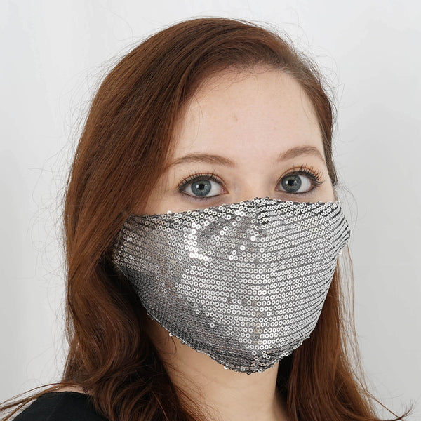 5 Pack | Silver Sequined Cotton Fashion Face Mask, Washable Reusable Face Mask With Ear Loops