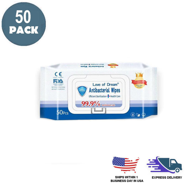 Pack of 50 | Antibacterial Hand Wipes | Non Alcoholic Hand Sanitizer Wet Wipes