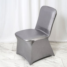 Metallic Charcoal Gray Glittering Shiny Premium Spandex Banquet Chair Cover