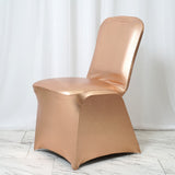 Metallic Blush Glittering Shiny Premium Spandex Banquet Chair Cover