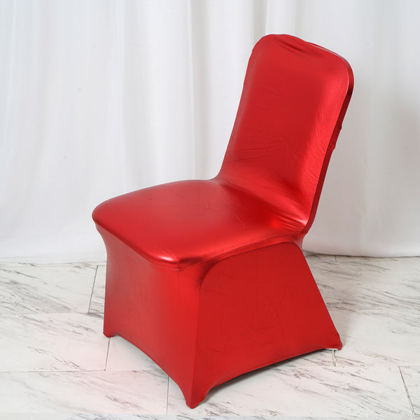 Metallic Red Glittering Shiny Premium Spandex Banquet Chair Cover