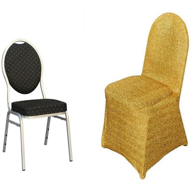 Metallic Glittering Gold Shiny Spandex Banquet Chair Cover