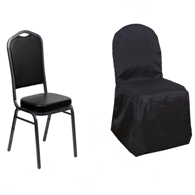 Superbe ... Black Polyester Banquet Chair Covers Fits Over Banquet Style Chairs ...