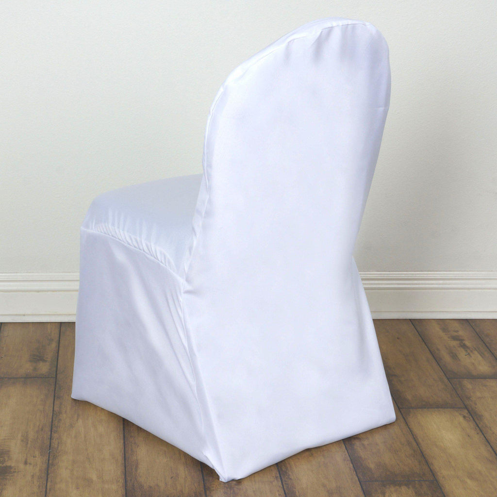 Tremendous White Polyester Banquet Chair Covers Ncnpc Chair Design For Home Ncnpcorg