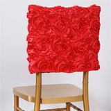 Coral Grandiose Rosette Chivari Square-Top Chair Caps - 16 x 14""
