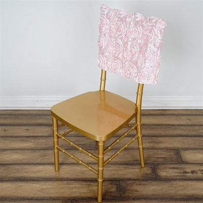 Blush Grandiose Rosette Chivari Square-Top Chair Caps - 16 x 14""