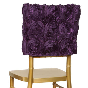 Grandiose Rosette Chivari Chair Cap for Wedding Party Event Decoration - Eggplant