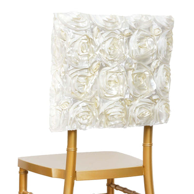 Grandiose Rosette Chivari Chair Cap for Wedding Party Event Decoration - Ivory