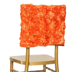 Grandiose Rosette Chivari Chair Cap for Wedding Party Event Decoration - Orange