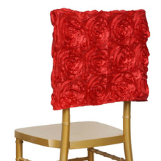Grandiose Rosette Chivari Chair Cap for Wedding Party Event Decoration - Red