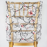 White Sheer Organza Chair Caps With Cherry Blossom Design