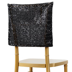 16 inch x 14 inch Black Premium Sequin Chiavari Chair Back Cover