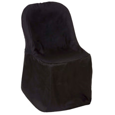 Black Polyester Folding Round Chair Covers