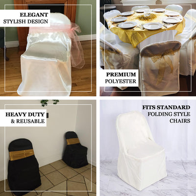 Ivory Polyester Folding Flat Chair Covers