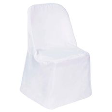 White Polyester Folding Round Chair Covers