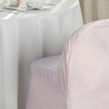 Blush Polyester Folding Flat Chair Covers