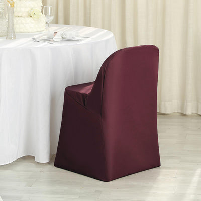Burgundy Polyester Folding Round Chair Covers