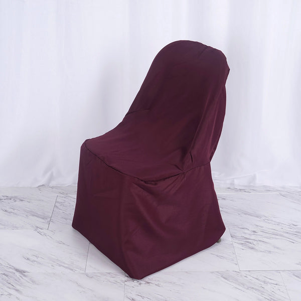 Burgundy Polyester Folding Flat Chair Covers
