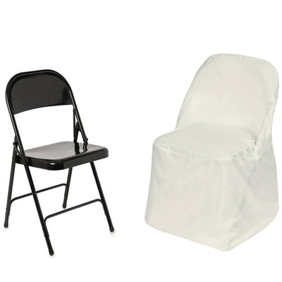 Ivory Polyester Folding Round Chair Covers