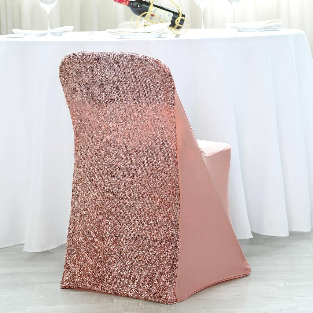 Surprising Blush Rose Gold Spandex Stretch Folding Chair Cover With Metallic Glittering Back Alphanode Cool Chair Designs And Ideas Alphanodeonline