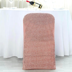 Blush/Rose Gold Stretch Spandex Folding Chair Cover with Metallic Glittering Back