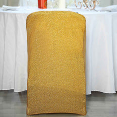 Gold Spandex Stretch Folding Chair Cover With Metallic Glittering Back