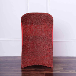 Red Stretch Spandex Folding Chair Cover with Metallic Glittering Back | TableclothsFactory