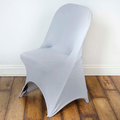 Silver Spandex Stretch Folding Chair Cover