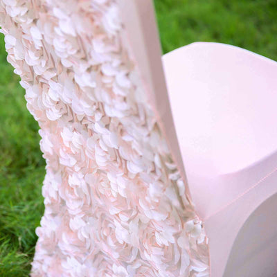 Blush Satin Rosette Stretch Banquet Spandex Chair Cover