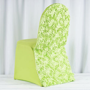 Apple Green Satin Rosette Stretch Banquet Spandex Chair Cover