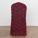 Burgundy Satin Rosette Stretch Banquet Spandex Chair Cover