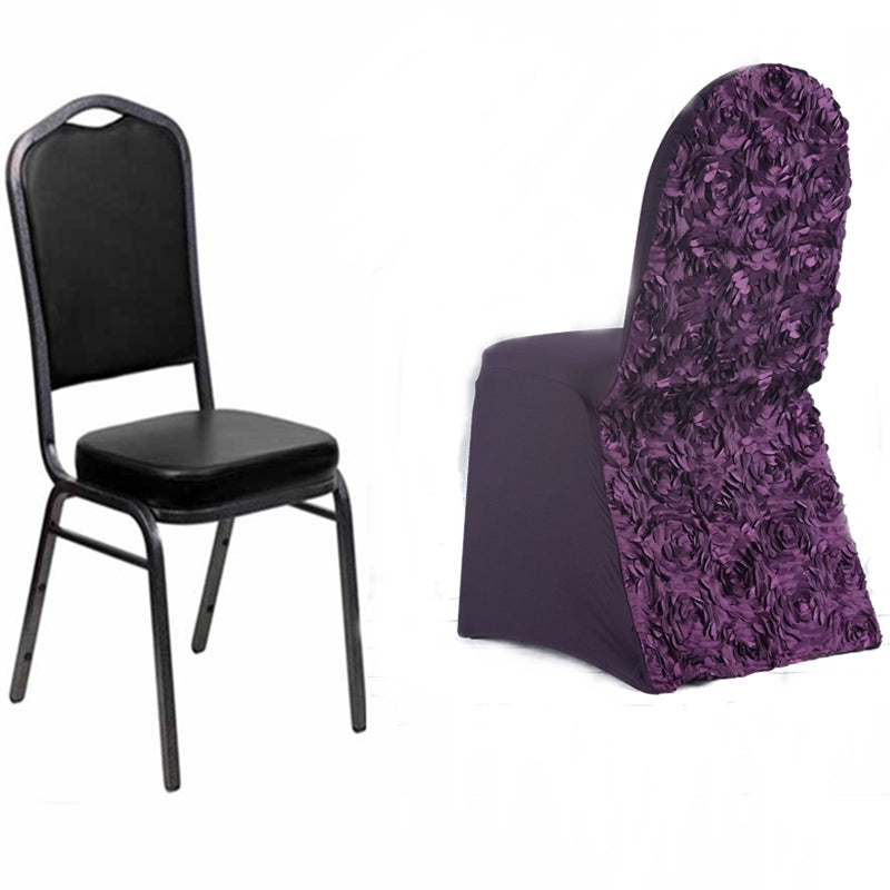 Sensational Eggplant Satin Rosette Stretch Banquet Spandex Chair Cover Machost Co Dining Chair Design Ideas Machostcouk