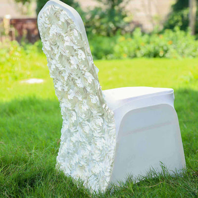 Ivory Satin Rosette Stretch Banquet Spandex Chair Cover