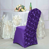 Purple Satin Rosette Stretch Banquet Spandex Chair Cover