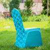 Turquoise Satin Rosette Stretch Banquet Spandex Chair Cover