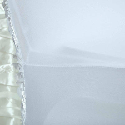 White Satin Rosette Stretch Banquet Spandex Chair Cover
