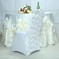 Satin Rosette White Stretch Banquet Spandex Chair Cover