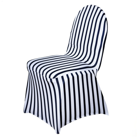 Striped Spandex Chair Cover   Black / White