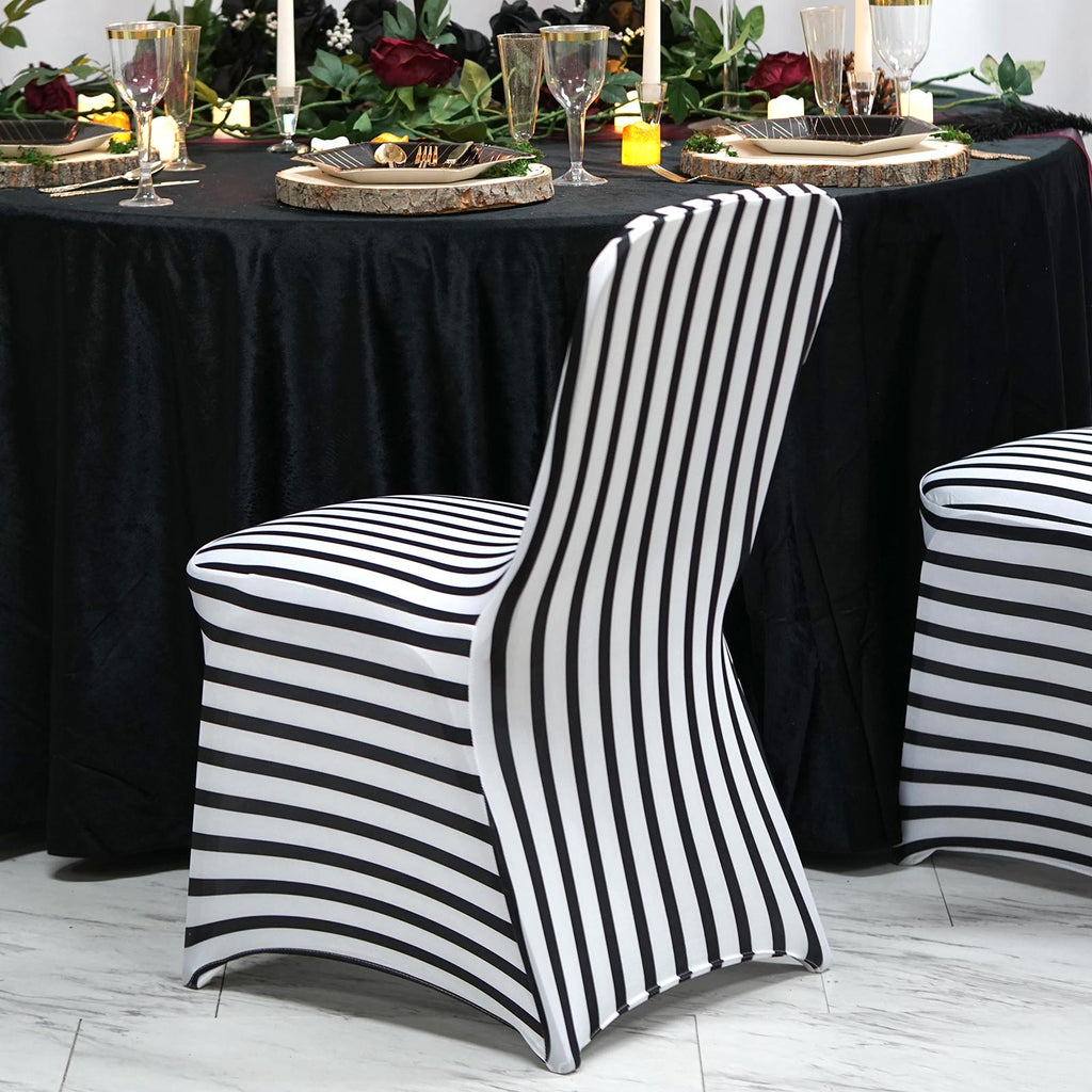 Black White Striped Spandex Stretch Banquet Chair Cover Tableclothsfactory